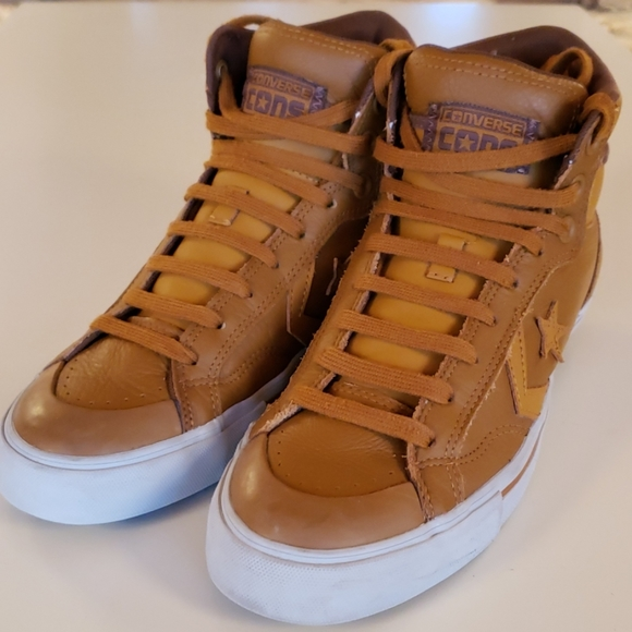 Converse Shoes | Tan Leather High Tops